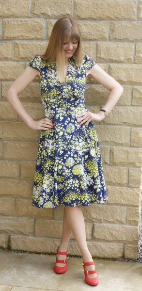 navy and orange floral printed breeze midi dress