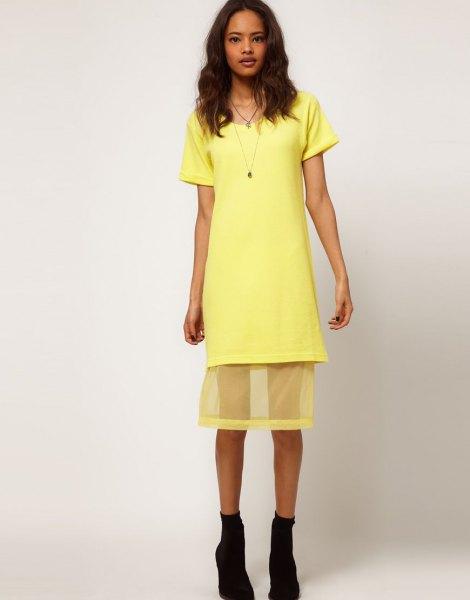 yellow shirt dress with semi sheer mesh overlay