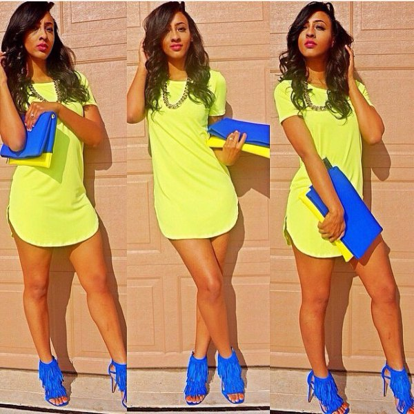 light yellow t-shirt dress with royal blue fringed heels