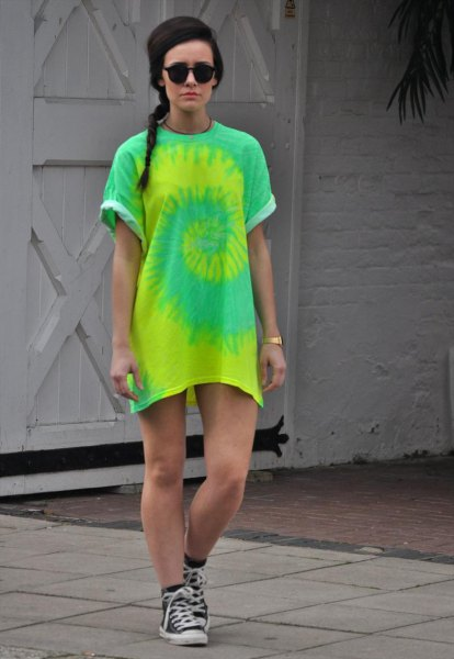 yellow and green tie colored t-shirt dress with sneakers