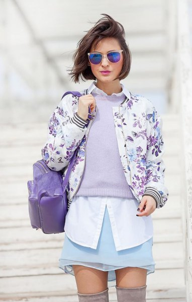 white button up shirt and floral printed cotton jacket
