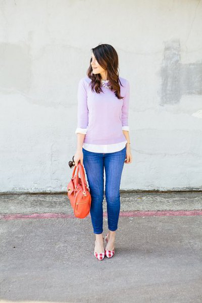 lavender sweater over white shirt