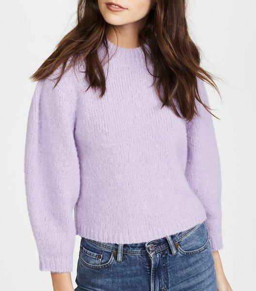 lavender short sweater with waisted jeans