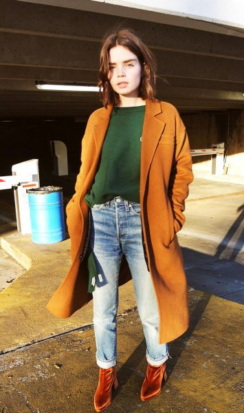 orange maxi blazer with matching velvet boots