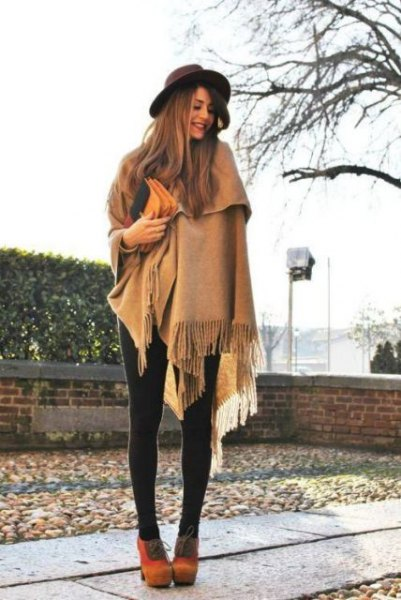crepe fringe felt scarf with leggings and orange suede ankle boots