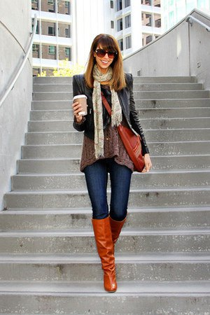 black puff shoulder jacket with dark blue jeans and boots