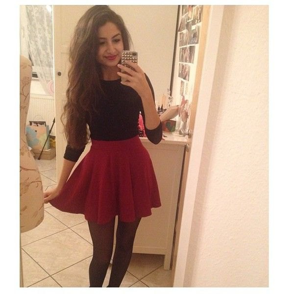 black bikini sweater with red skater skirt