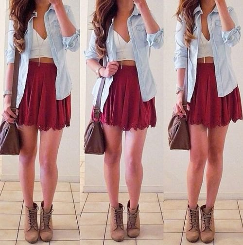 mini skirt with white deep v-neck top and chambray button up