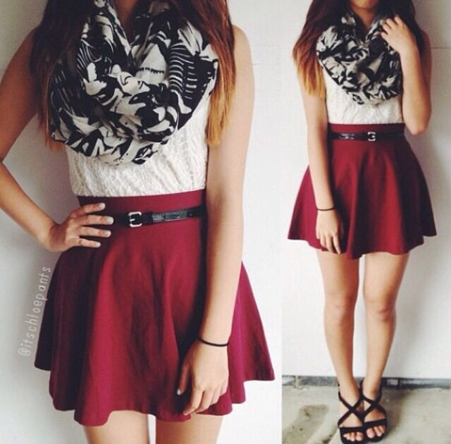 white lace sleeveless blouse with burgundy skating skirt