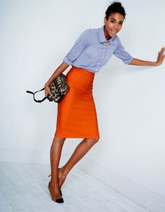 blue cuff with chambray button with midi-orange skirt