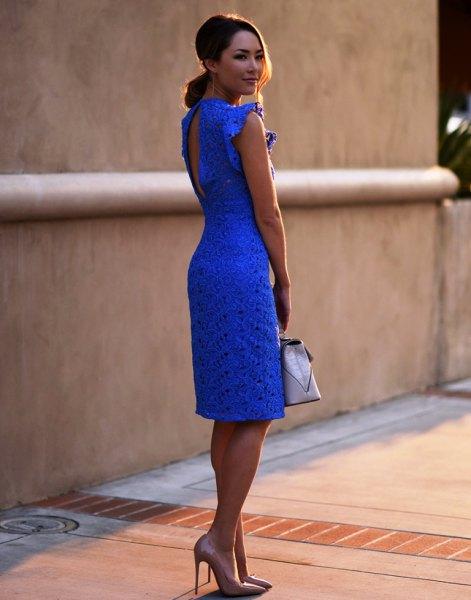 blue keyhole back lace mantle knee-length dress