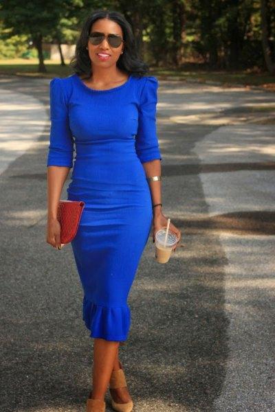 puff shoulder half-heated cobalt blue midi dress