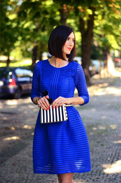 cobalt blue striped semi-colored fit and flare mini dress