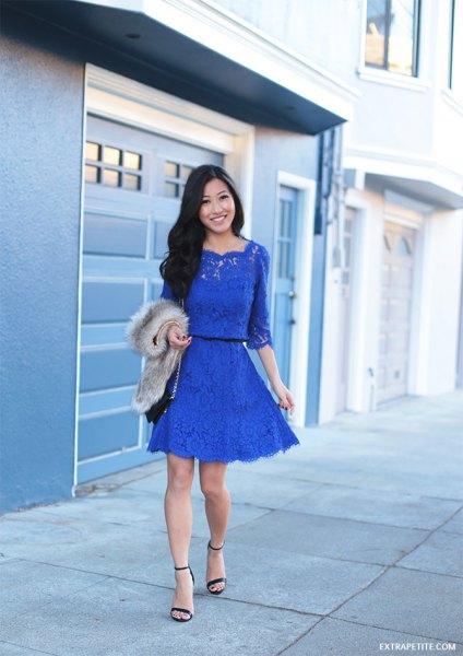 blue half sleeve lace gathered waist my skater dress