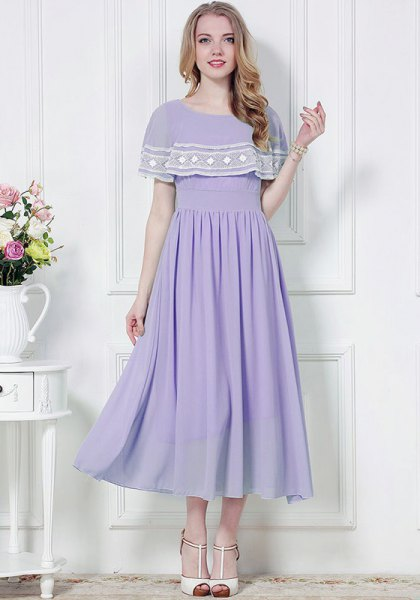 lavender and white folder maxi chiffon dress
