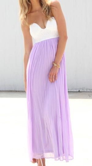 white and lavender color block sweetheart neckline pleated chiffon dress