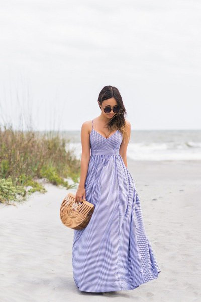 lavender spaghetti strap deep v-neck fit and flare striped dress