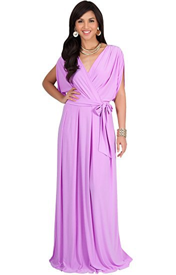 Lavender floor length wrap dress with statement necklace