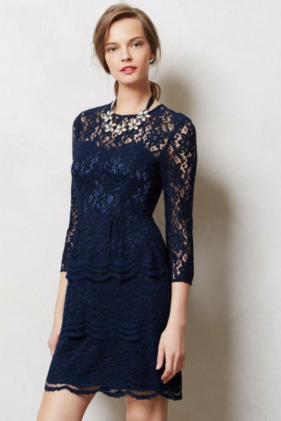 navy blue quarter-length sleeve mini lace dress
