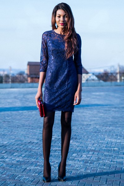 half-heated mini dress with black socks and navy heels