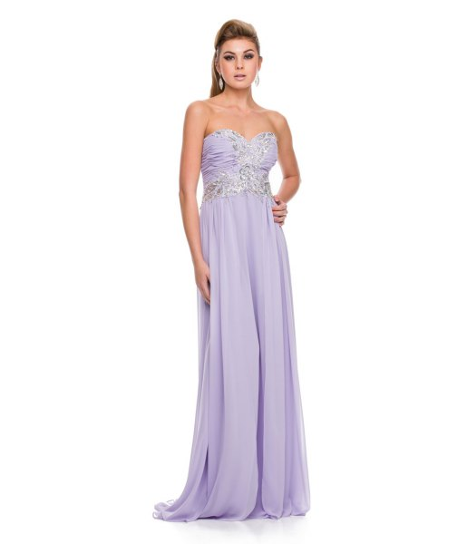 lavender strapless fit and flare maxi flowy dress