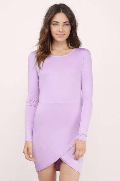 lavender cotton long sleeve shape fitting mini dress