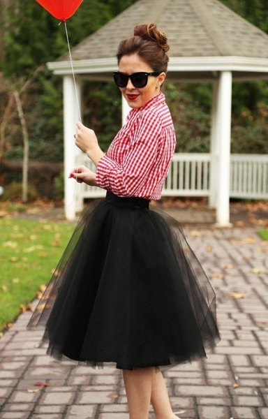 red and white plaid shirt with black midi tutu skirt