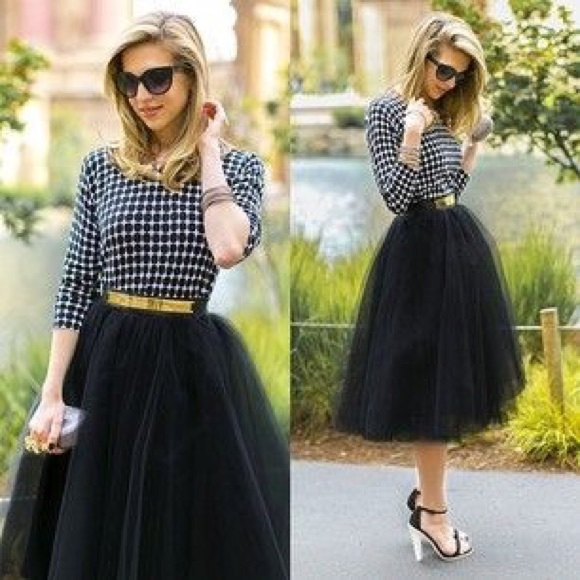 black and white checkered blouse with black tutu skirt and gold belt