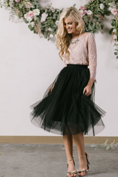 light pink lace blouse with black tutu midi dress