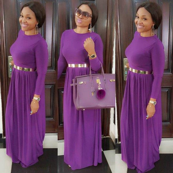 purple dress with silver metal belt