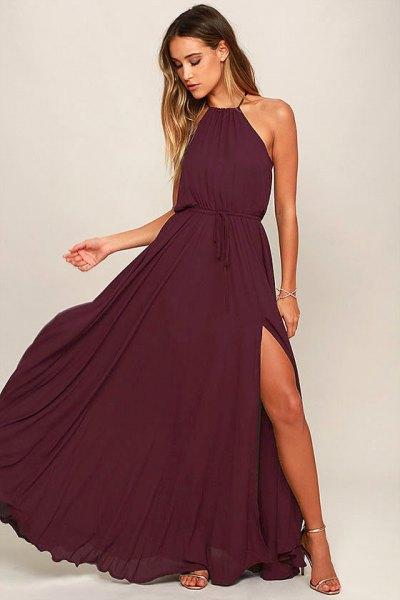 deep purple halter neck gathered waist flared dress