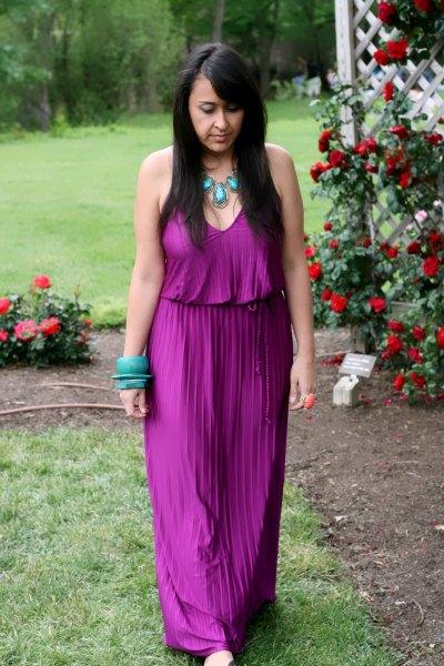 purple v-neck sleeveless gathered waist pleated dress