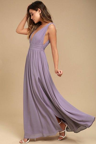 light purple deep v-neck floor length pleated dress