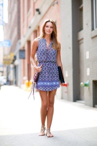 blue and white tribal printed v-neck collared waist dress