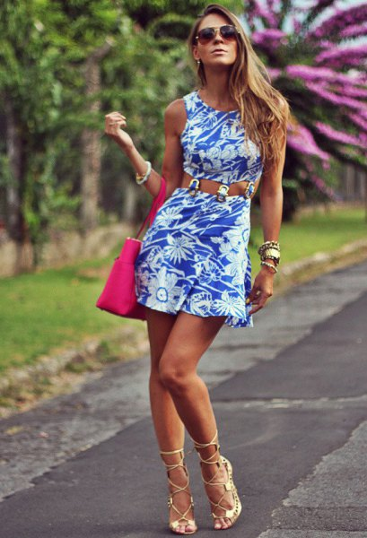 floral printed tank dress with pink heels with open toe