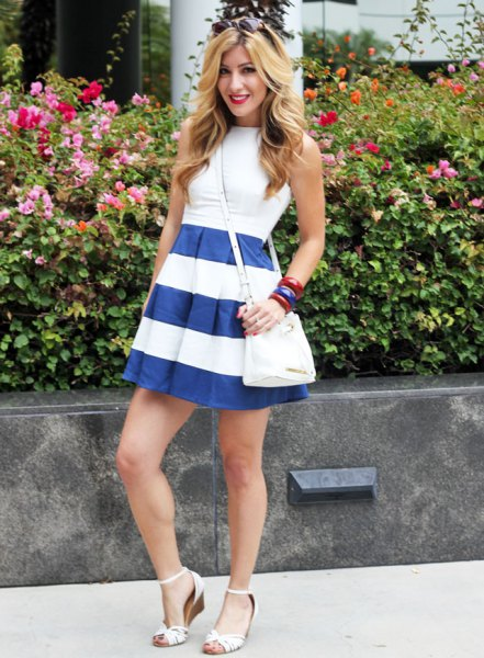 white fit and flare mini dress with blue stripes