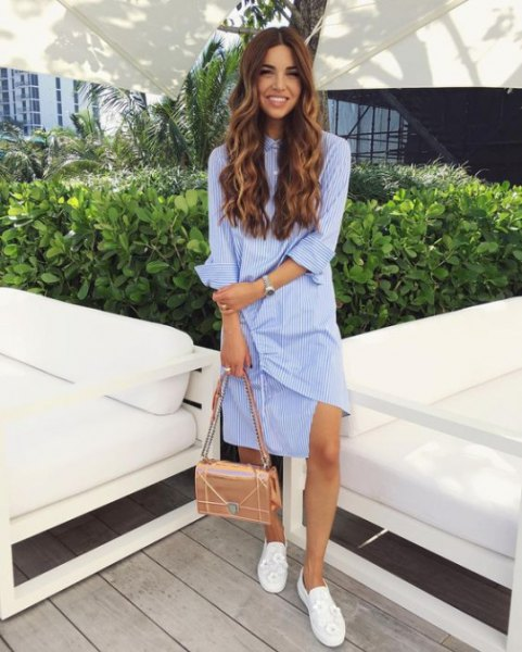 blue and white vertical striped knee length shirt dress