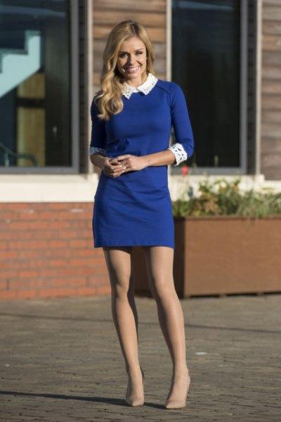 blue three-quarter sleeve mini dress with white collar and cuffs