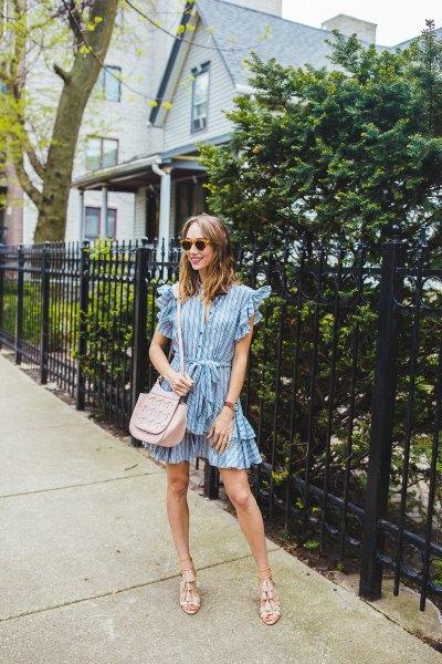 striped ruffle sleeve mini multilayer dress