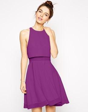 purple sleeveless gathered waist chiffon flared mini sundress