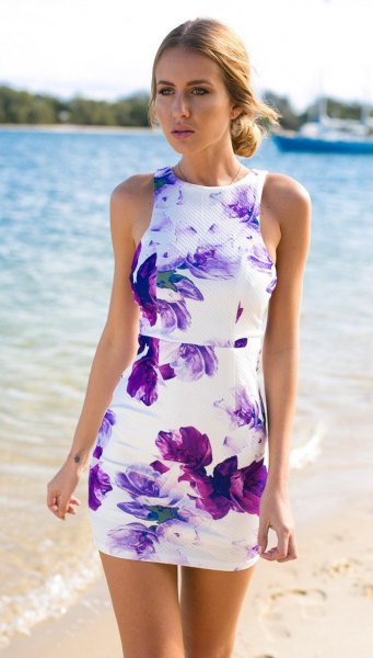 purple and white faux tie dye mini bodycon sundress