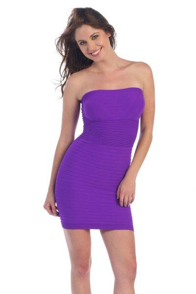 purple strapless bodycon tub sundress