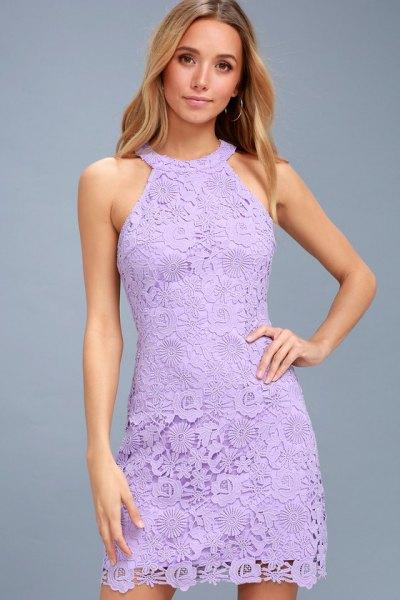 light purple halter neckline mini lace dress