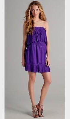 purple strapless shoulder mini shift dress
