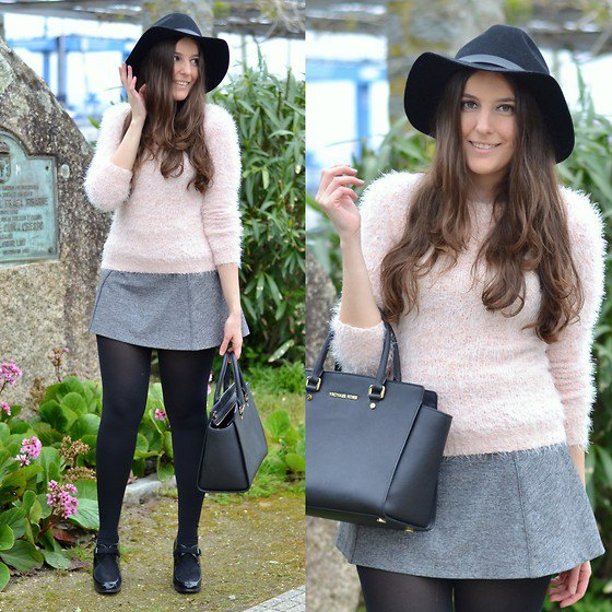 light pink fuzzy sweater with miniskirt in gray wool