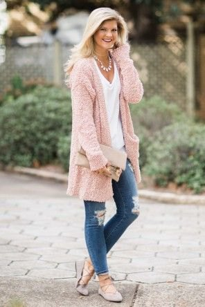 pink long line sweater cardigan with ripped skinny jeans