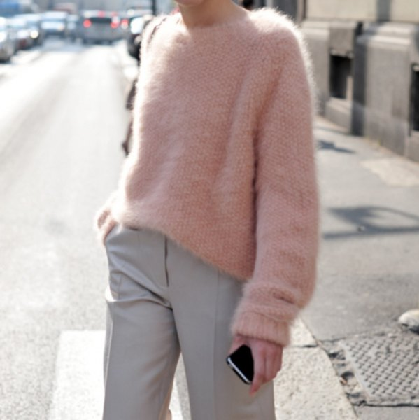 fuzzy chunky sweater with light gray chinos