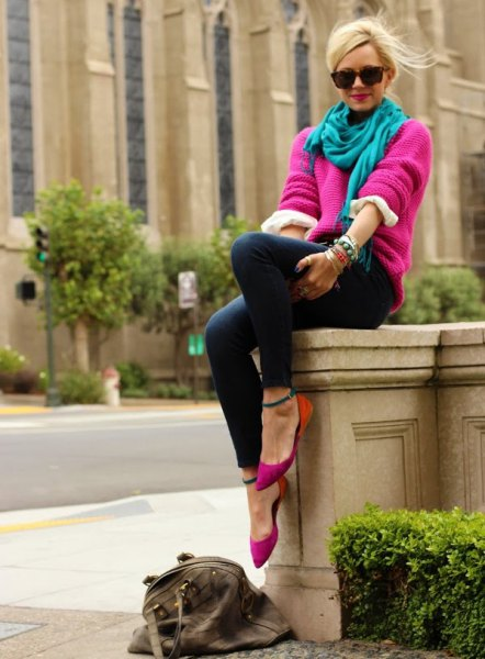 pink chunky sweater with teal with linen in scarf and slim jeans