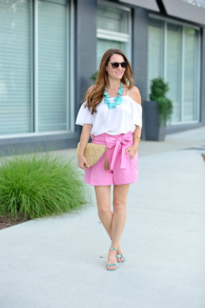 white from the shoulder flange blouse with pink ribbons running shorts