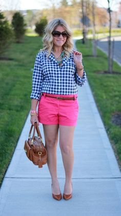 black and white checkered shirt with hot pink shorts